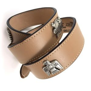 1970's nude leather belt with animal totems